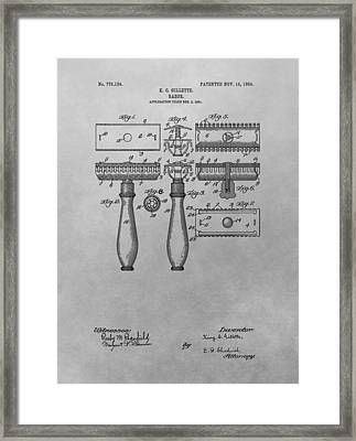 Gillette Razor Patent Drawing Framed Print by Dan Sproul