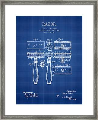 Gillette Razor Patent From 1904 - Blueprint Framed Print by Aged Pixel