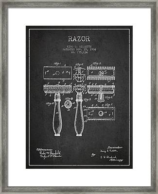 Gillette Razor Patent From 1904 - Dark Framed Print by Aged Pixel