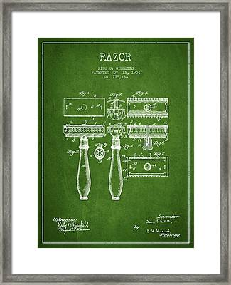 Gillette Razor Patent From 1904 - Green Framed Print by Aged Pixel