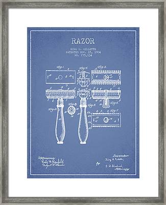 Gillette Razor Patent From 1904 - Light Blue Framed Print by Aged Pixel