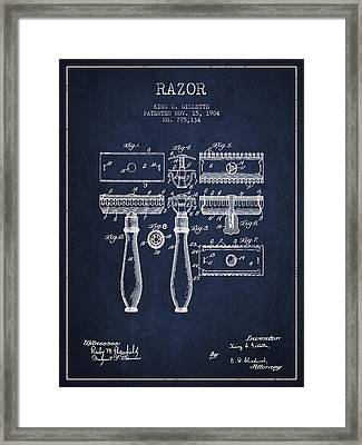Gillette Razor Patent From 1904 - Navy Blue Framed Print by Aged Pixel