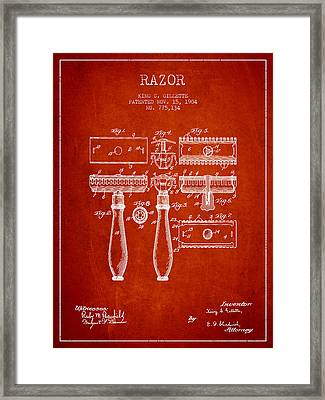 Gillette Razor Patent From 1904 - Red Framed Print by Aged Pixel
