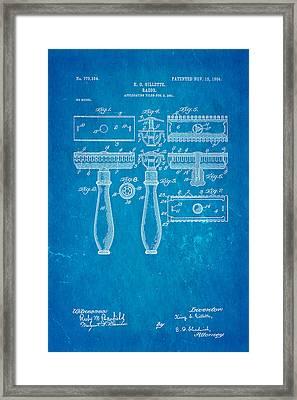Gillette Safety Razor Patent Art 1904 Blueprint Framed Print
