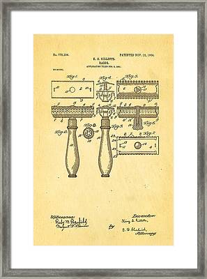 Gillette Safety Razor Patent Art 1904 Framed Print by Ian Monk