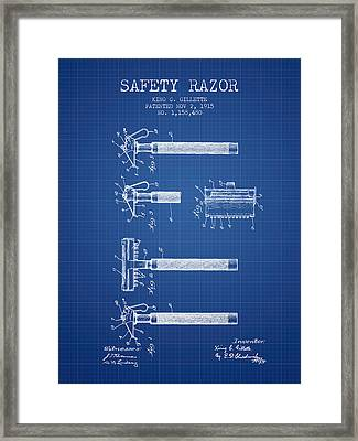 Gillette Safety Razor Patent Drawing From 1915 - Blueprint Framed Print by Aged Pixel