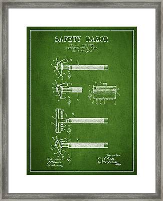 Gillette Safety Razor Patent Drawing From 1915 - Green Framed Print
