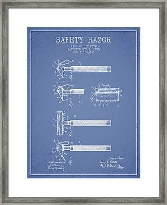 Gillette Safety Razor Patent Drawing From 1915 - Light Blue Framed Print by Aged Pixel