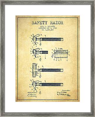 Gillette Safety Razor Patent Drawing From 1915 - Vintage Framed Print by Aged Pixel