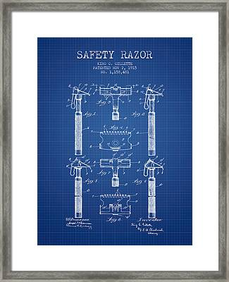 Gillette Safety Razor Patent From 1915 - Blueprint Framed Print by Aged Pixel