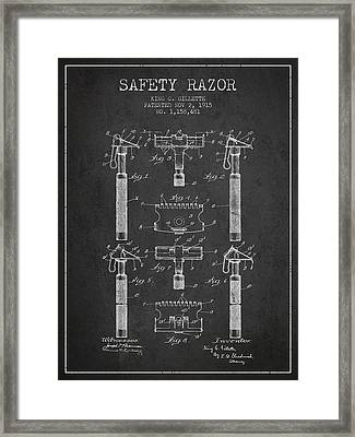 Gillette Safety Razor Patent From 1915 - Dark Framed Print by Aged Pixel