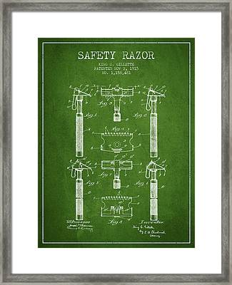 Gillette Safety Razor Patent From 1915 - Green Framed Print by Aged Pixel