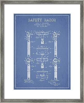 Gillette Safety Razor Patent From 1915 - Light Blue Framed Print by Aged Pixel
