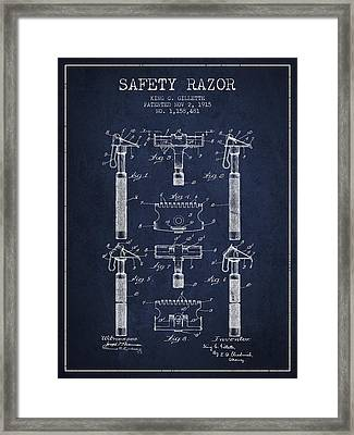 Gillette Safety Razor Patent From 1915 - Navy Blue Framed Print