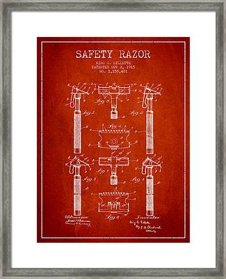 Gillette Safety Razor Patent From 1915 - Red Framed Print by Aged Pixel
