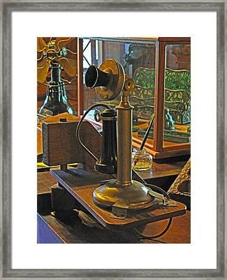 Gillette's Phone And Fan Framed Print by Barbara McDevitt