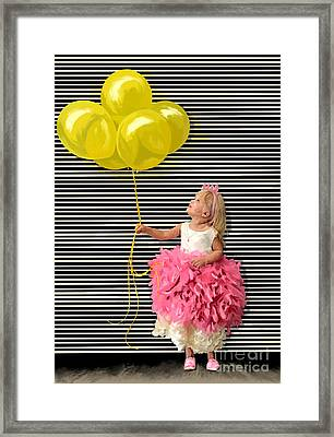 Gillian With Yellow Balloons Framed Print