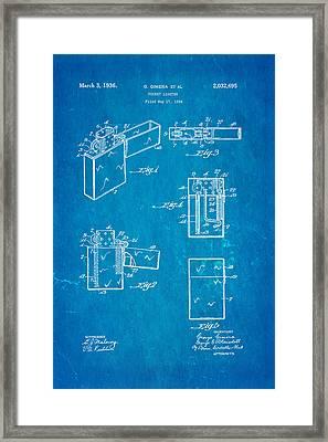 Gimera Zippo Lighter Patent Art 1934 Blueprint Framed Print by Ian Monk