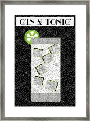 Gin And Tonic Cocktail Art Deco Swing   Framed Print by Cecely Bloom