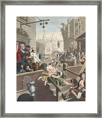 Gin Lane, Illustration From Hogarth Framed Print