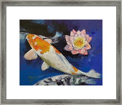 Gin Rin Koi And Water Lily Framed Print by Michael Creese