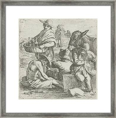 Gin Seller And The Three Beggars, Jan Van Ossenbeeck Framed Print by Jan Van Ossenbeeck