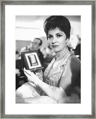 Gina Lollobrigida Wins Award Framed Print by Underwood Archives