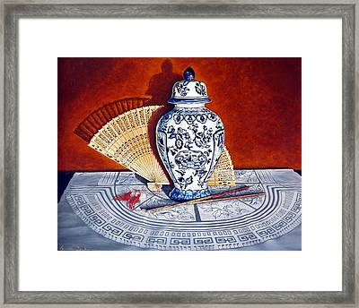 Ginger Jar And Fan Framed Print by Linda Becker