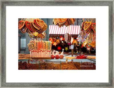 Gingerbread And Candies Framed Print