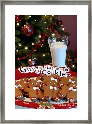 Gingerbread Cookies On Platter Framed Print