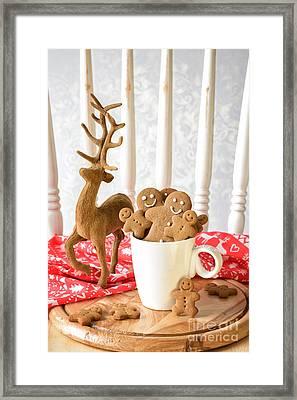 Gingerbread Family At Christmas Framed Print