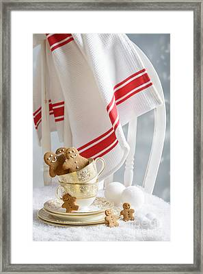 Gingerbread Men At Christmas Framed Print