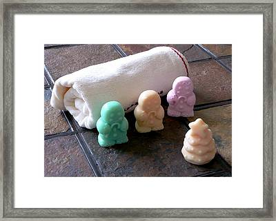 Gingerbread Men Soap Framed Print