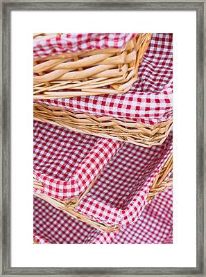 Gingham Baskets Framed Print by Tom Gowanlock