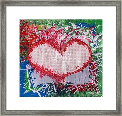 Gingham Crazy Heart Shrink Wrapped Framed Print by Genevieve Esson