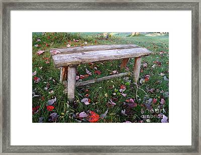 Ginny's Bench Framed Print by Kerri Mortenson