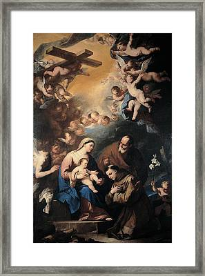 Giordano Luca, Holy Family Venerated Framed Print by Everett