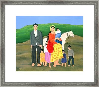 Gipsy Family, 1986 Oil On Canvas Framed Print by Magdolna Ban