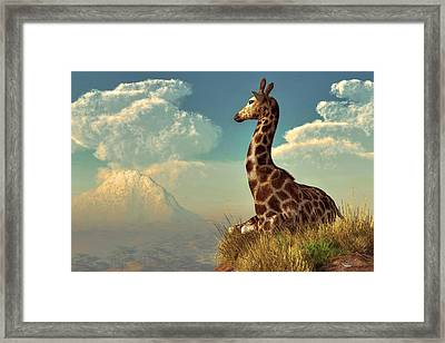 Giraffe And Distant Mountain Framed Print