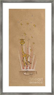 Giraffe And Rubber Duckies Framed Print