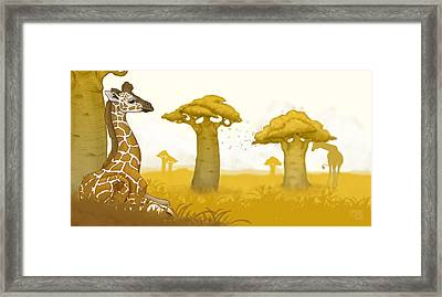 Giraffe And Savanna Framed Print by Catherine Noel