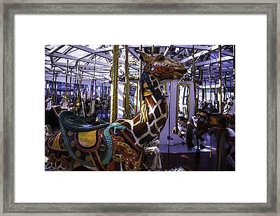 Giraffe Carousel Ride Framed Print by Garry Gay