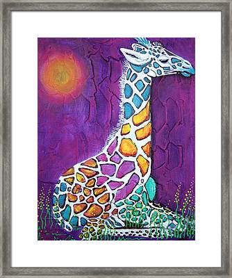 Giraffe Of Many Colors Framed Print by Laura Barbosa