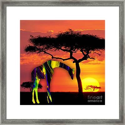 Giraffe Painting Framed Print