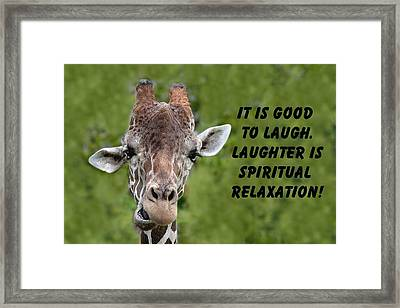 Giraffe Quote-1 Framed Print by Rudy Umans