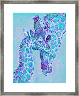 Giraffe Shades  Purple And Aqua Framed Print