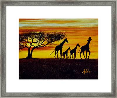 Giraffe Silhouette  Framed Print by Adele Moscaritolo