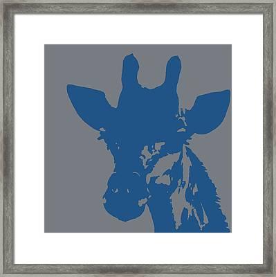 Giraffe Silhouette Grey Blue Framed Print
