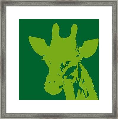 Giraffe Silhouette Lime Green Framed Print