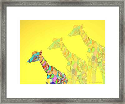 Giraffe X 3 - Yellow - The Card Framed Print by Joyce Dickens